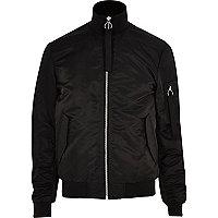Black padded funnel neck bomber jacket