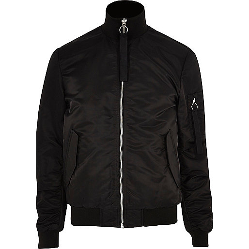 Black padded funnel neck bomber jacket