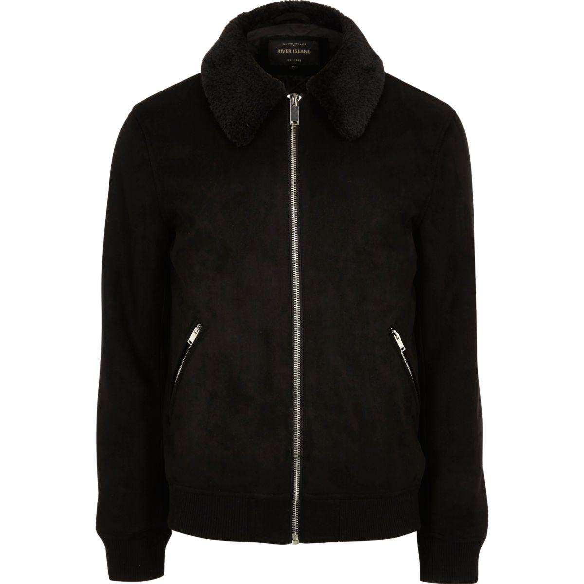 Schwarze Jacke aus Wildlederimitat mit Kunstfellkragen