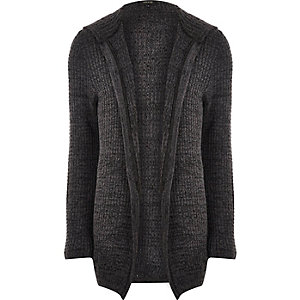 Dark grey knit open hooded cardigan