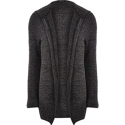 Dark grey knit open hooded longline cardigan