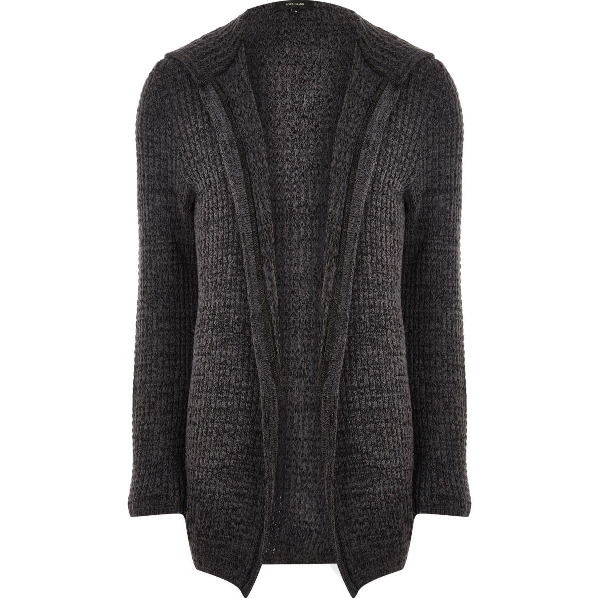 Dark grey knit open hooded longline cardigan