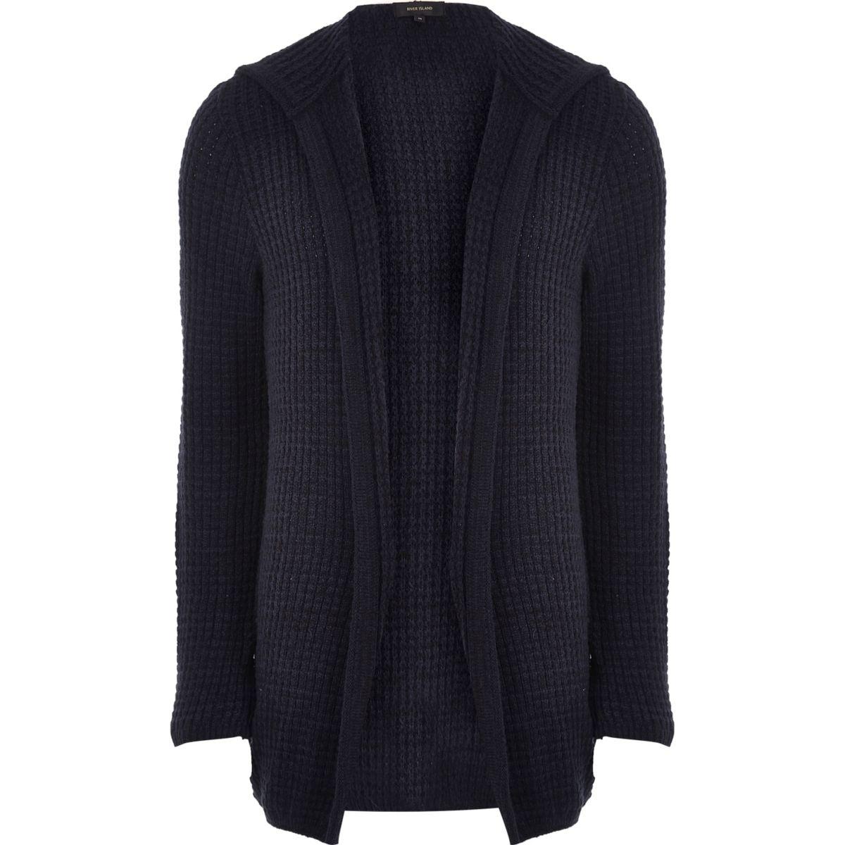 Blue knit open hooded longline cardigan