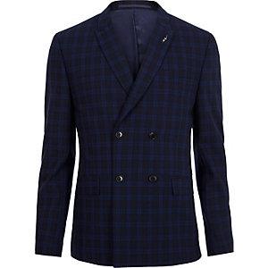 Blaue, zweireihige Skinny Anzugsjacke