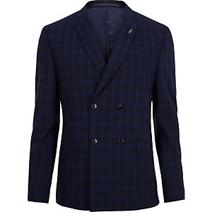 Veste de costume skinny coupe croisée à carreaux bleue