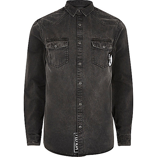 Zwart western denim overhemd met embleem