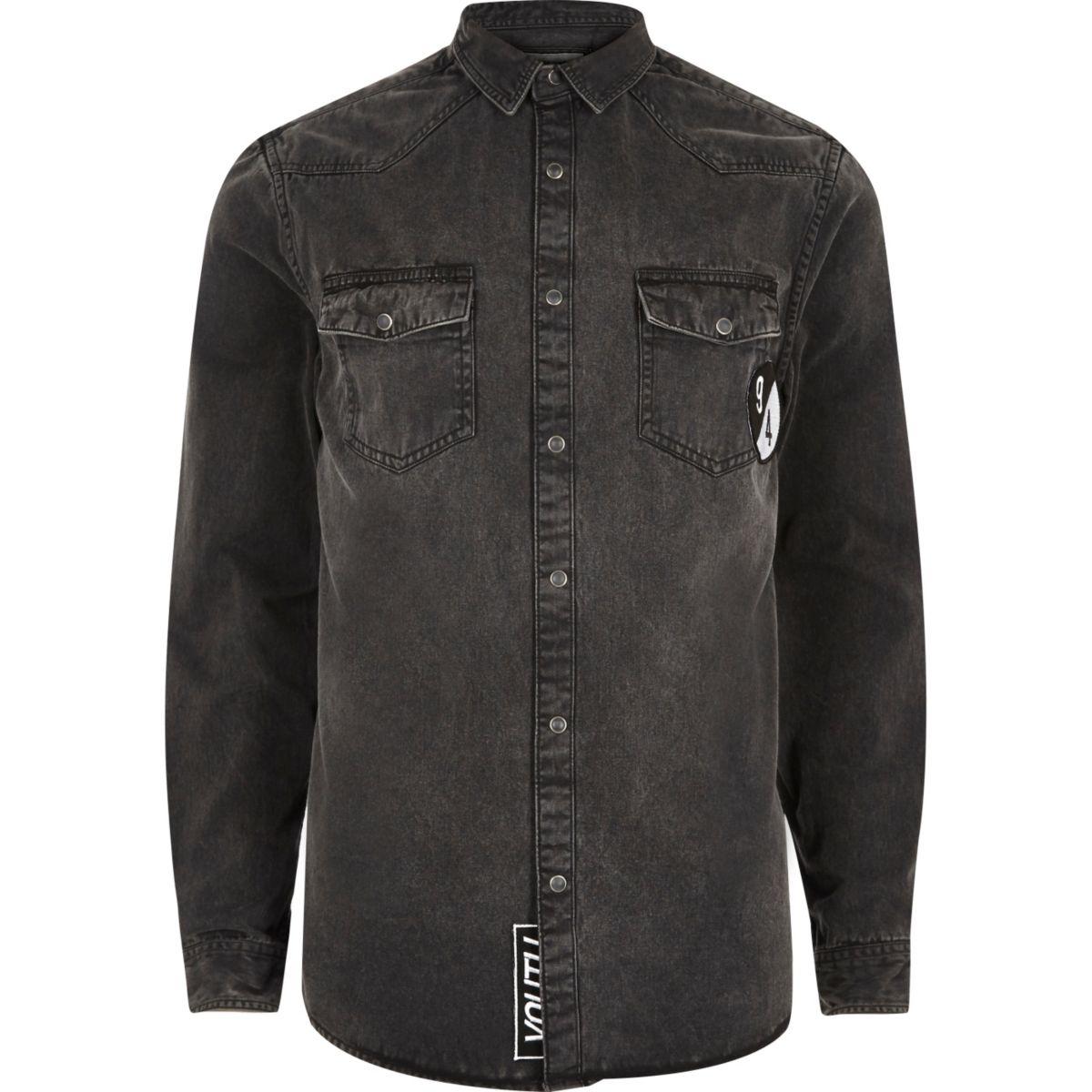 Black badge western denim shirt
