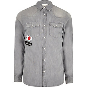 Grey flag badge western denim shirt