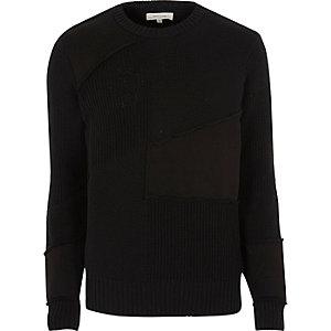 Black mixed texture patch jumper