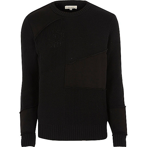 Black mixed texture patch sweater