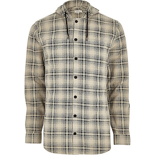 Big and Tall cream hooded check shirt