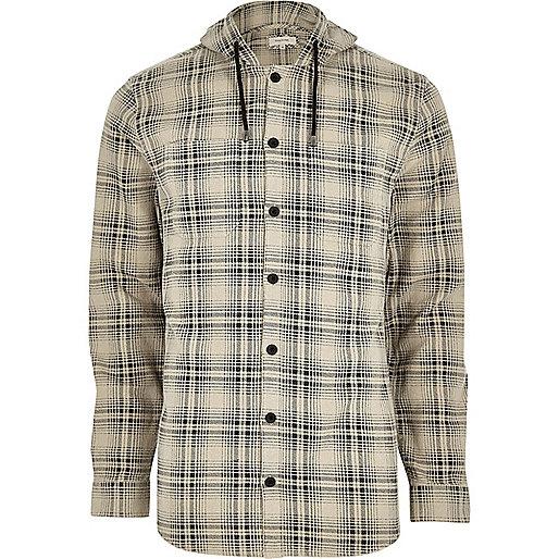 Big and Tall cream hooded check shirt