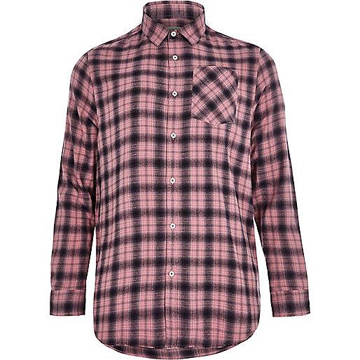 Big and Tall pink check casual shirt