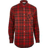 Big and Tall red check casual shirt
