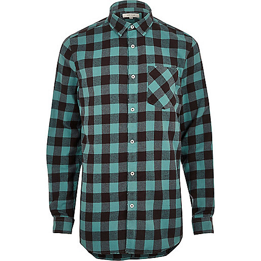 Big and Tall blue casual buffalo check shirt