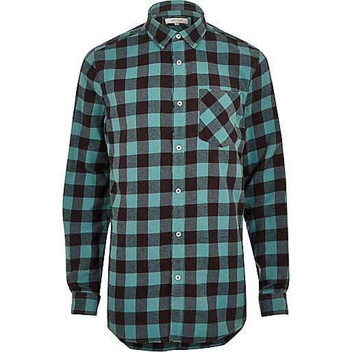 Big and Tall blue casual buffalo check shirt