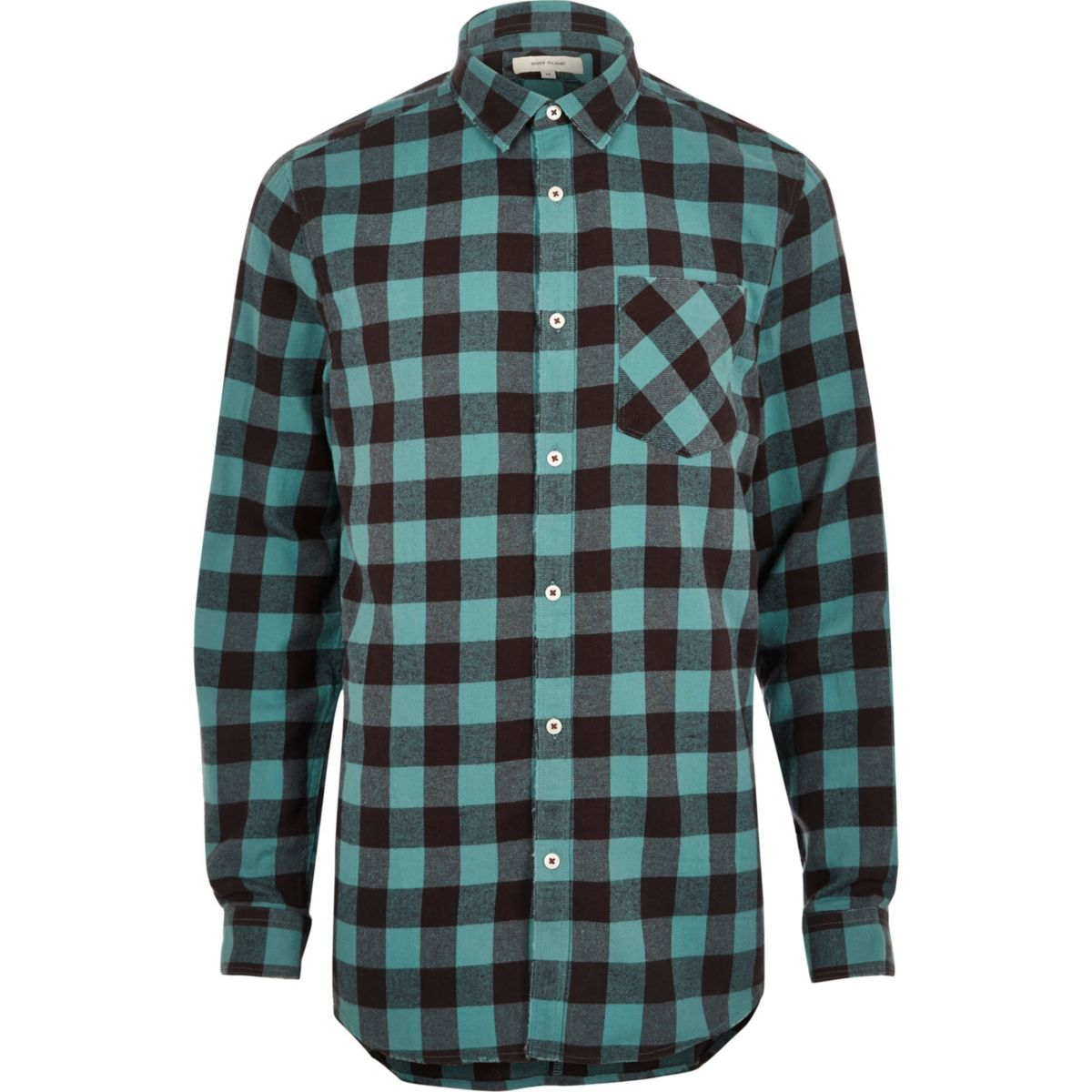 Big and tall blue casual buffalo check shirt shirts for Big and tall casual shirts