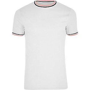 T-shirt gris cintré à bords contrastants