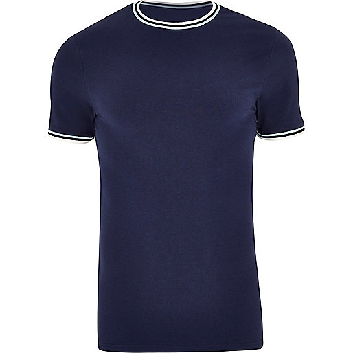 Navy muscle fit ringer T-shirt