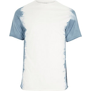 White tie dye slim fit T-shirt