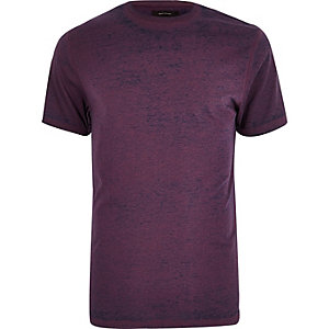 Slim Fit T-Shirt in Lila mit Burnout-Muster