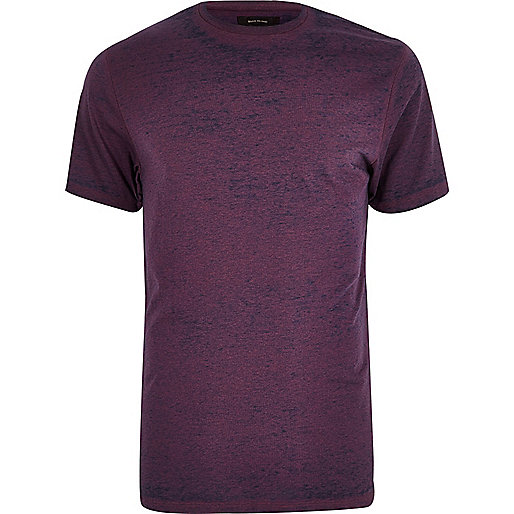 Purple burnout slim fit T-shirt