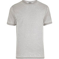 Light grey burnout slim fit T-shirt