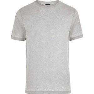 T-shirt gris clair effet usé