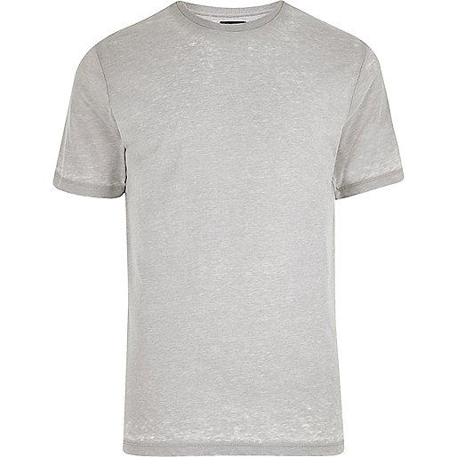 Light grey burnout slim fit T-shirt