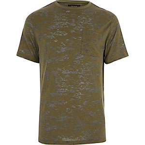 Khaki green burnout slim fit T-shirt