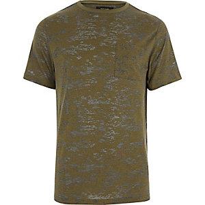 T-shirt vert kaki effet usé