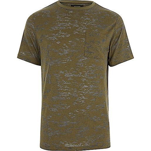 Khaki green burnout slim fit T-shirt