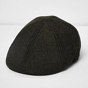Dunkelgrüne Herringbone-Kappe