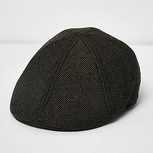 Dark green herringbone flat cap