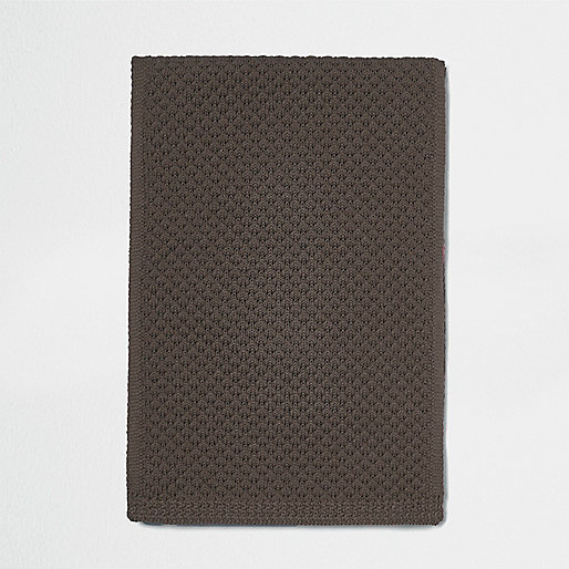 Brown marl honeycomb knit scarf