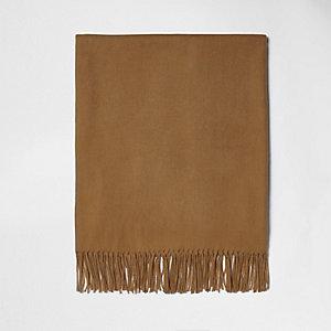Camelkleurige sjaal met franje