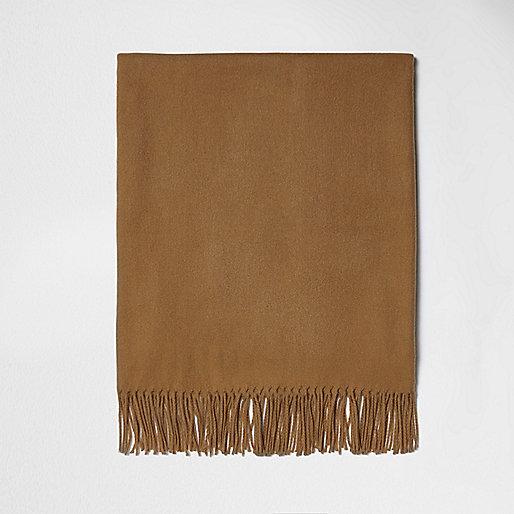 Camel tassel blanket scarf