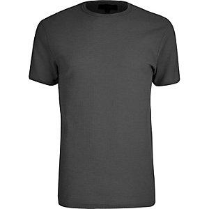 Grey waffle slim fit T-shirt