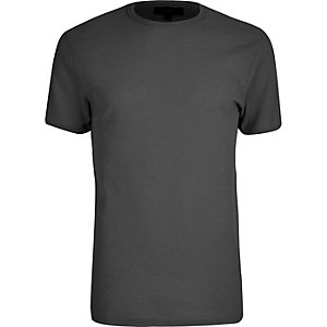 T-shirt slim gris gaufré