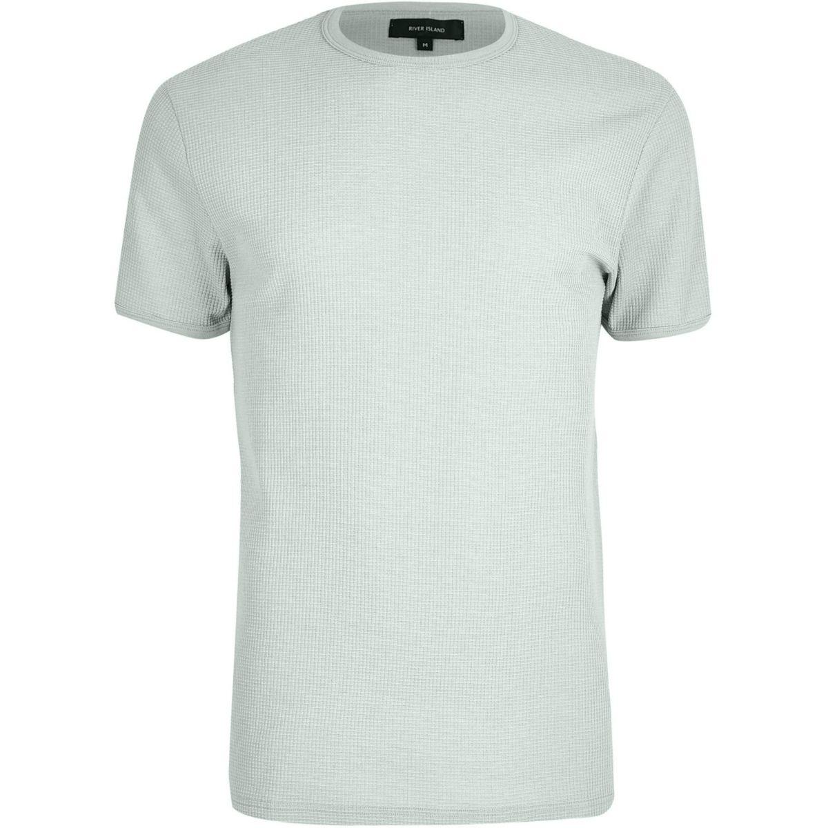 Light green waffle slim fit T-shirt