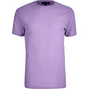 Light purple waffle slim fit T-shirt