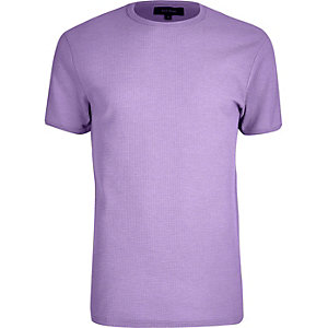 Light purple waffle slim fit T-shirt