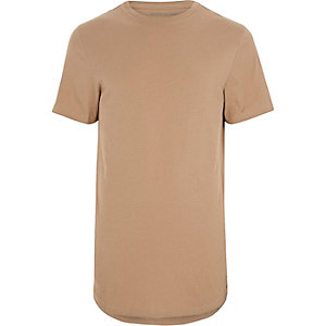 Camel brown curved hem T-shirt