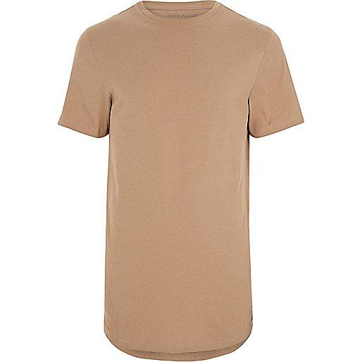 Camel brown curved hem T-shirt