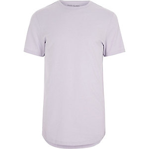 Light purple curved hem crew neck T-shirt