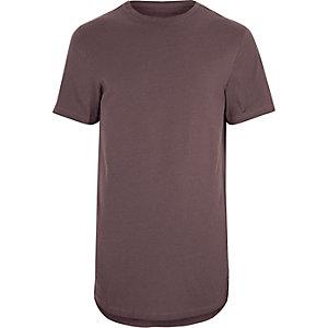 T-shirt ras-du-cou violet à ourlet arrondi