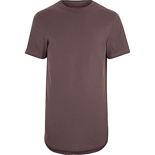 Purple curved hem crew neck T-shirt