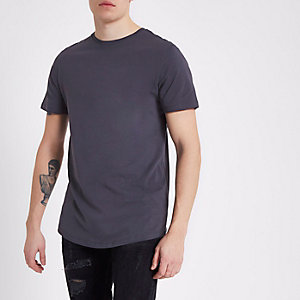 Dark grey curved hem crew neck T-shirt