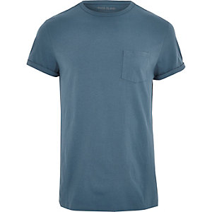Dark blue roll sleeve T-shirt