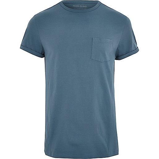 Dark blue roll sleeve T-shirt